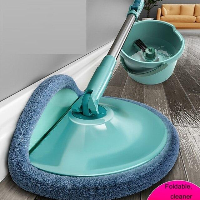 Balai serpillère magique pour le sol et la salle de bain avec seau microfibre 360, accessoire universel pour le nettoyage des sols et salle de bain