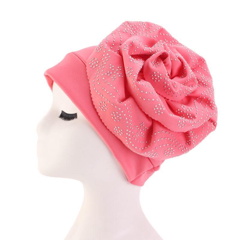 Image 5 - Muslim Hat Beanie Chemo Caps Shiny Glitter Turban Bandana Head  Wrap Cover Hair Accessories Women Turban Elegant FlowerWomens Skullies