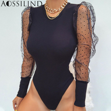 AOSSILIND Transparent Mesh Patchwork Bodysuit Autumn Women Long Sleeve Skinny Sexy Rompers Ladies Slim Body suits