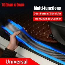 OLOMN Carbon Fiber Car Door Protector Styling Sticker Sill Scuff Plate Pedal Strip PVC Scratchproof Protective Tape Car Decor