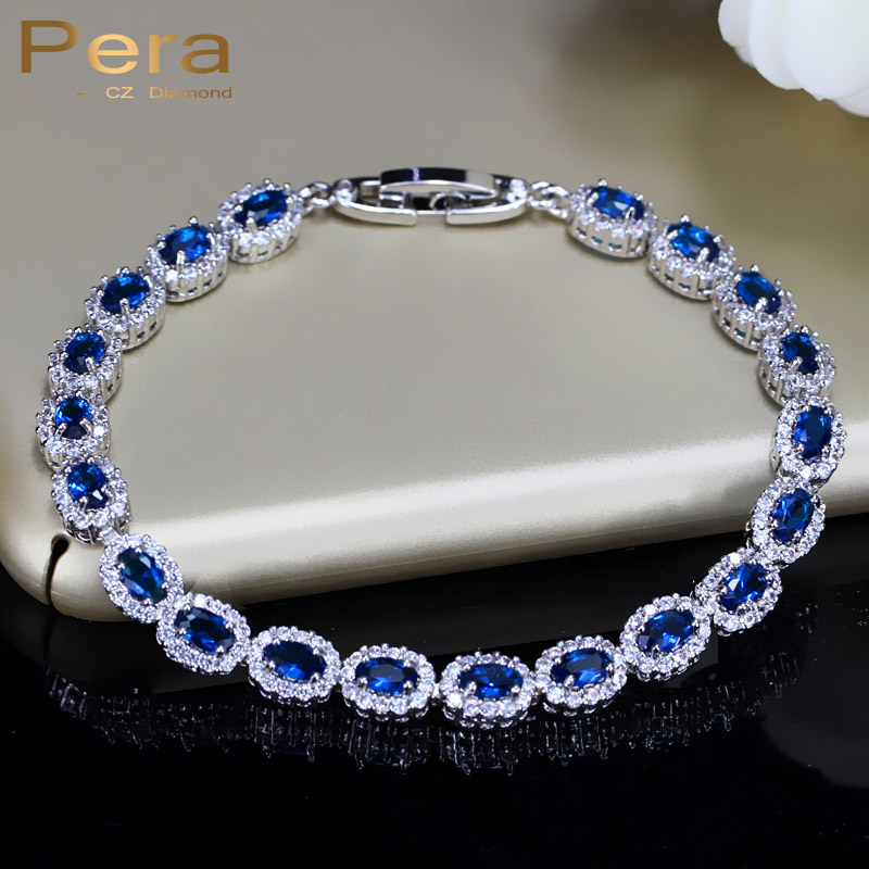 Pera Fashion Women Sterling Silver 925 Jewelry Summer Design Dark Blue CZ Crystal Topaz Oval Bracelets for Mother's Day BR070|bracelet eye|bracelet purplebracelet rack - AliExpress