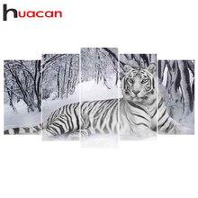Huacan 5D DIYภาพเพชรภาพวาดTigerเต็มรูปแบบเพชรโมเสคสัตว์เย็บปักถักร้อยRhinestonesของขวัญ