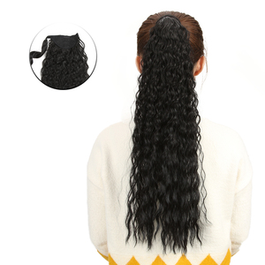 BELLA Wavy Long Ponytail Synthetic Hairpiece Wrap on Clip Hair Extensions 26 inch Ombre Brown Blonde Pony Tail Blonde Fack Hair