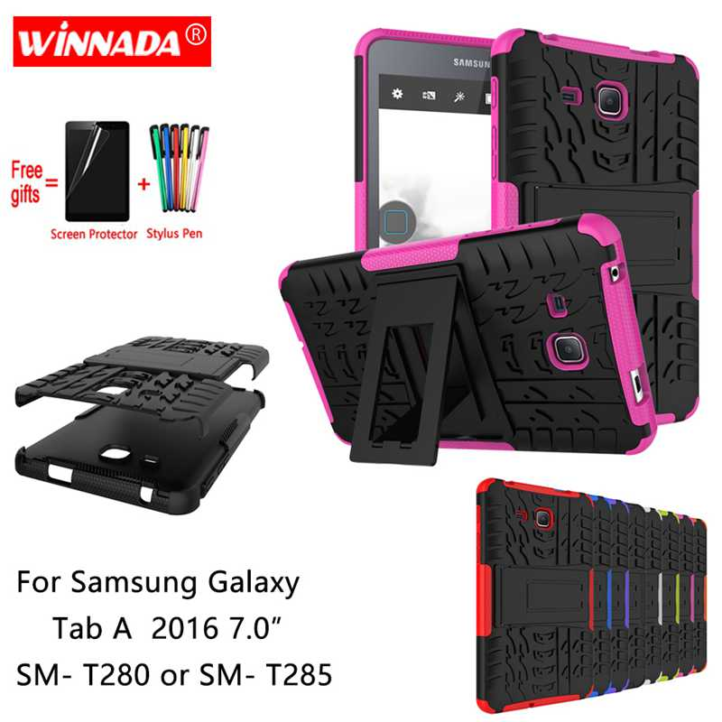 For Samsung Galaxy Tab A 2016 7.0 Case For SM- T280 T285 Tablet Armor Case Silicone TPU+PC Shockproof Stand Cover +Film+Pen