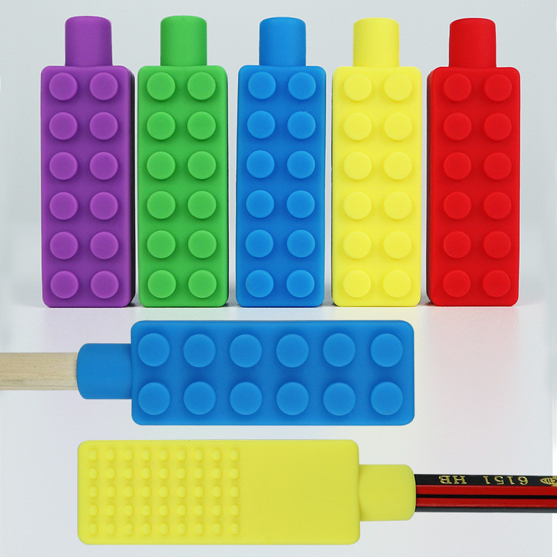 New 1 Pcs  Sensory Chew Necklace Brick Chewy Kids Silicone Biting Pencil Topper Pacifier Silicone Nipple Feeder Teether Toy