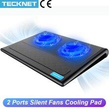 Almohadilla de refrigeración para portátil TeckNet, soporte para 2 ventiladores, enfriador compatible con almohadillas de refrigeración para ordenadores portátiles, PC, ordenador USB