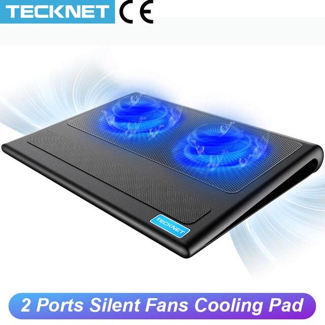 TeckNet Đế Làm Mát Laptop Xách Tay Đứng 2 Quạt Làm Mát Phù Hợp Với 9  16 Inch Cho Laptop Máy Tính USB Quạt tấm Làm Mát