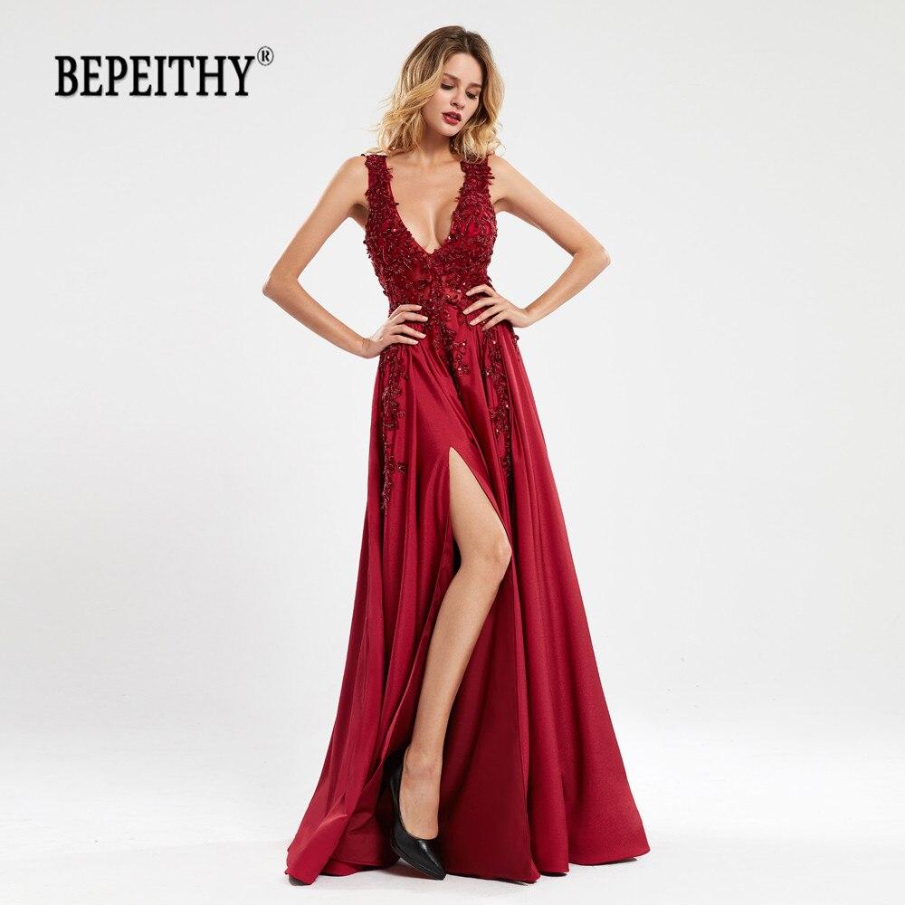 BEPEITHY Vestidos De Fiesta Largos Elegantes De Gala V Neck Long Prom Dresses 2020 Sexy Party Evening Gown платье на выпускной