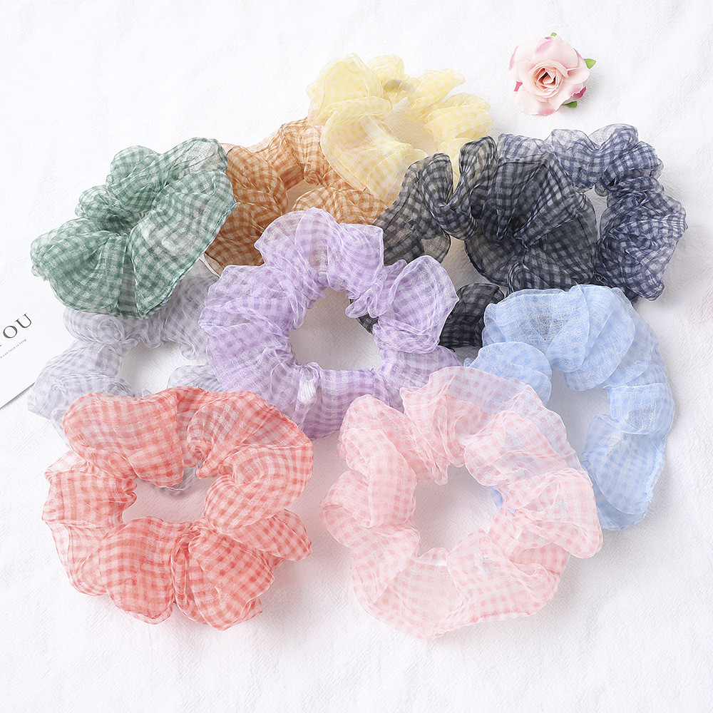 Silky Satin Hair Scrunchie Women Elastic Hair Bands Super Fairy Small Organza Large Intestine Ponytail Hair Tie Rope Accessories