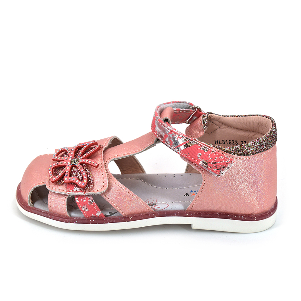 Bessky/ 2020 New Summer Sandals For Children; Pink Flowered Leather Shoes For Girls; The Princess Sandals;Flat Shoes For Kids