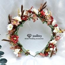 CC Flower Headband Wreath Hairband 100% Handmade Wedding Hair Accessories for Women Bride Garland Girls Seaside Headpieces DD04