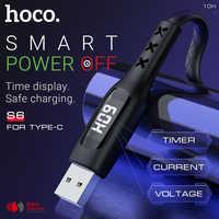 Hoco cable de carga usb para tipo c con temporizador de visualización de datos sincronización cargador rápido para Samsung Xiaomi Huawei usb c De rápido