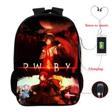цена на RWBY USB Charge Backpack Men Women Boys Girls School Bags Fashion USB Laptop Backpack Teens Schoolbag