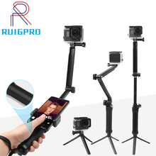 For GoPro Monopod Collapsible 3 Way Monopod Mount Camera Grip Extension Arm Tripod Stand for Gopro Hero 9 8 7 6 5 4 3 3+ SJ4000