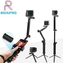 Pour GoPro monopode pliable 3 voies monopode montage caméra poignée Extension bras trépied support pour Gopro Hero 9 8 7 6 5 4 3 + SJ4000
