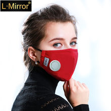 L.Mirror Unisex Respirator Mask With Breathing Valve Washable Cotton Activated Carbon Filter PM2.5 Mouth Masks Anti Dust Allergy(China)