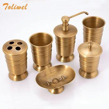 Antique Brass Bathroom Supplies Lotion Bottle Toothbrush Cup Holder Soap Dish Soap Dispenser 5pcs Set Bathroom Accessories europe 5pcs pink ceramic toothbrush holder cup soap dish shampoo bottle dispenser eco friendly couple bathroom accessories set