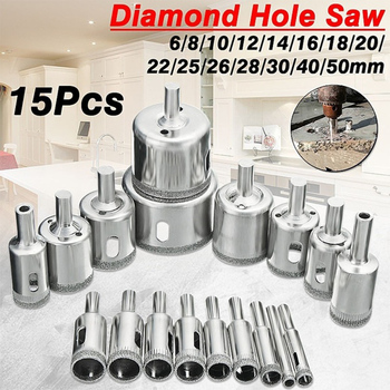 цена на 15pcs/set Glass Marble Drill Bits Diamond Coated Hole Cutter Opener  Tools Hole Saw Tile Drill Bits Diameter 6-50 mm