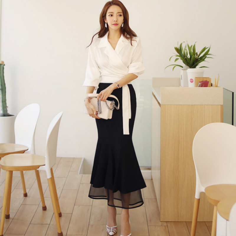 Autumn Office Lady Two Piece Sets Cloth Notched Blouse Bodycon Long Fishtail Skirt Sexy Mesh Maxi Long Suits Dress