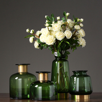 Modern Simple Glass Vase High grade thickened Phnom Penh green copper ring flower vases tabletop crafts home Decoration