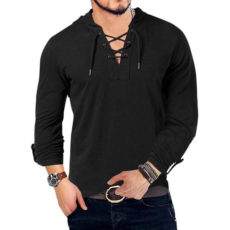 New Fashion Men's Hooded Tees Long Sleeve Cotton Henley T-Shirt Medieval Lace Up V Neck Outdoor Tee Top Loose Casual Solid Shirt