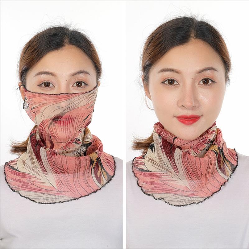 2020 новый стиль, шифоновая маска для лица, женские шарфы для защиты от солнца, покрытие для шеи, однотонный принт, для женщин, для пеших прогулок, для верховой езды, шарф, кольцо, обертывания