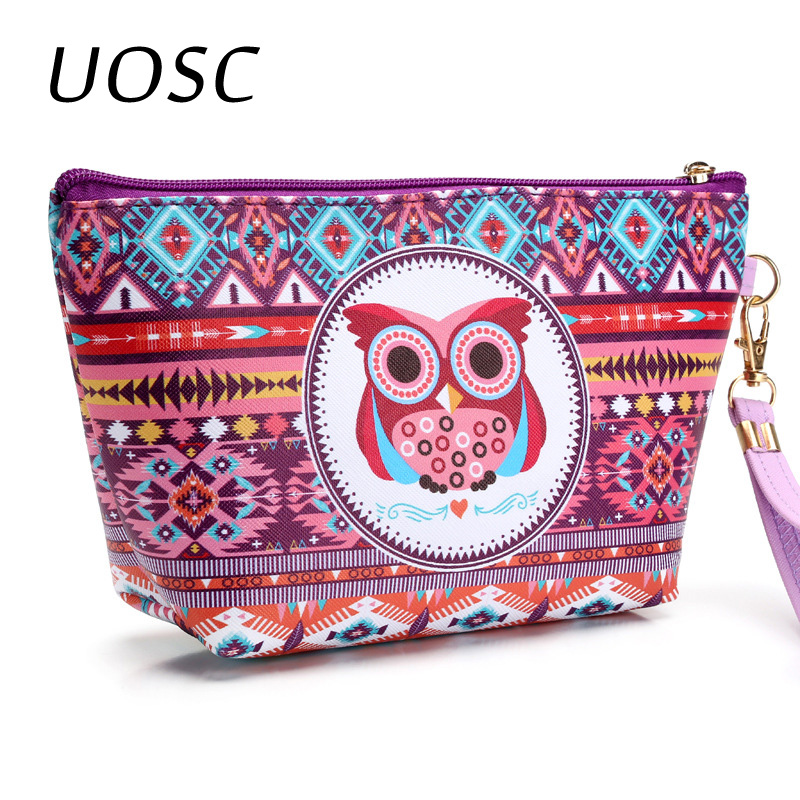 UOSC Vintage Women Cosmetic Case Cute Owl Striped Retro Makeup Bag Beauty Organizer Travel Pouch Necessarie Toiletry Wash Bag