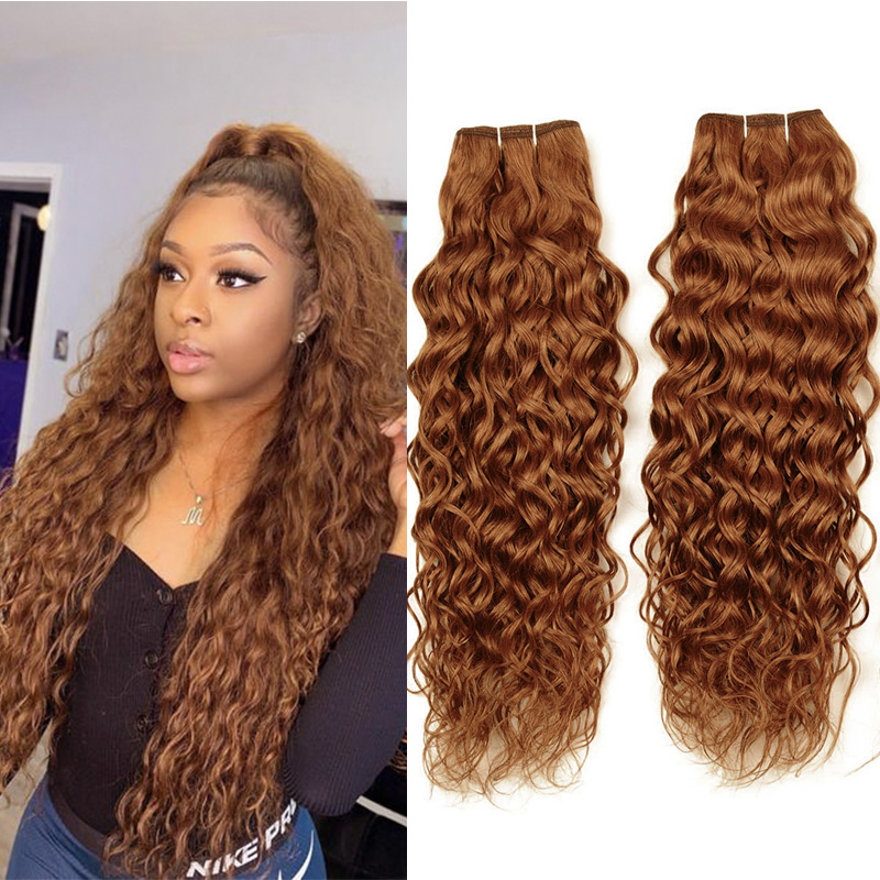 Ienvy Colored #30 Brazilian Hair Weave Bundles Ginger Blonde Water Wave Bundles Human Hair Gold Blonde Bundles 1 3 4 Pc Non-remy