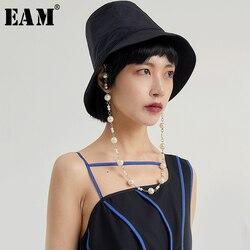 [EAM] Женская шляпа для рыбака, черная жемчужная шляпа с разрезом, Круглый купол, модная, универсальная, весна-лето 2020 1U610
