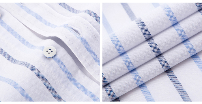 Hc50a1423f4c1417cb364e5b733fcabffw - Men's Casual 100% Cotton Oxford Striped Shirt Single Patch Pocket Long Sleeve Standard-fit Comfortable Thick Button-down Shirts