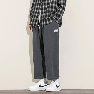 Oversize Wide Leg Pants Men 2020 Mens Casual Straight Ankle-Length Pants Mens Chinese Style Male Harem Pant