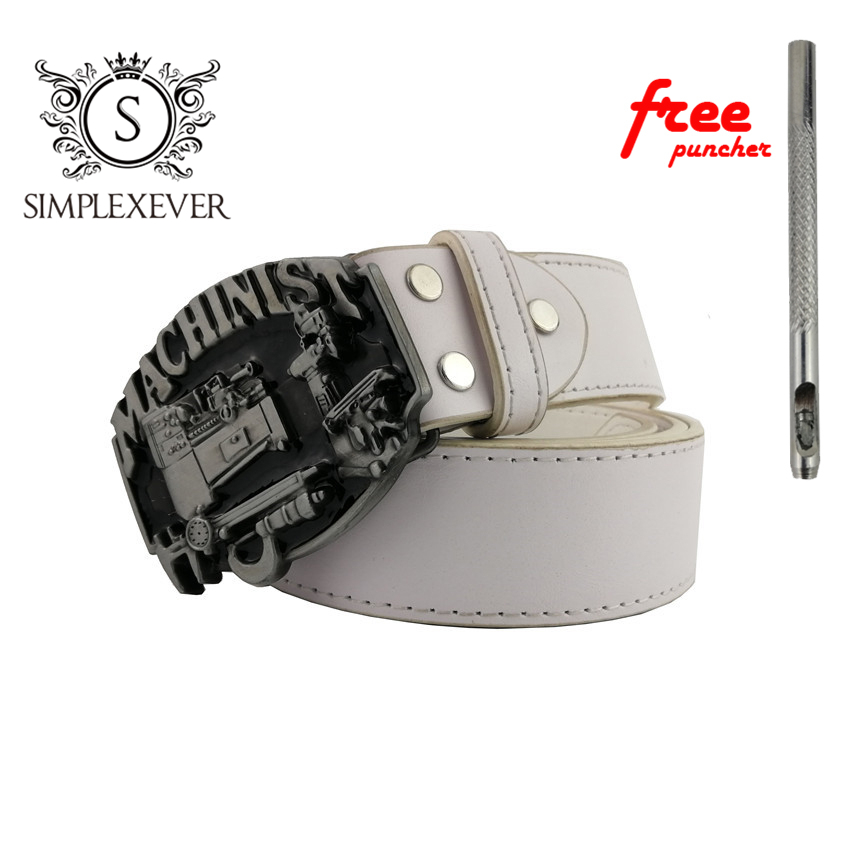 MACHINIST Metal Belt Buckles With Leather Belt For Men, Mens Belt Buckle Head Dropshipping As Birthday Gifts