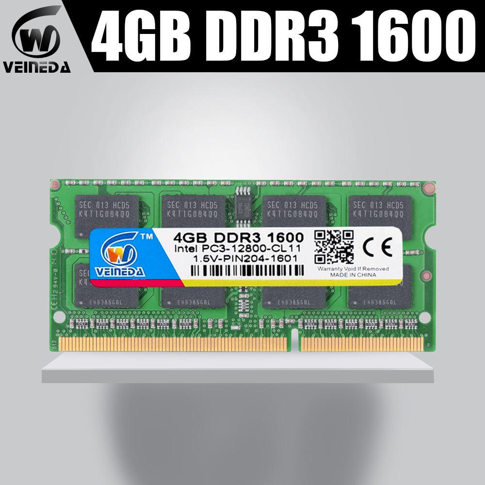 VEINEDA <font><b>DDR3</b></font> Memory Ram Sodimm <font><b>ddr3</b></font> 4gb 1600,1333MHZ For all Intel AMD laptop Ram Memory compatible with <font><b>1066</b></font> PC3-12800 204pin image