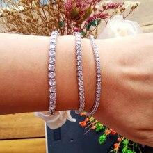 Clássico 17.5cm tênis pulseiras reais 925 jóias de prata 2mm 3mm 4mm 5a zironia eterno casamento luxo prata esterlina pulseira