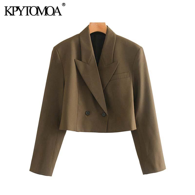 Vintage Stylish Office Wear Double Breasted Blazer Coat Women 2020 Fashion Long Sleeve Female Outerwear Chic Short Style Tops