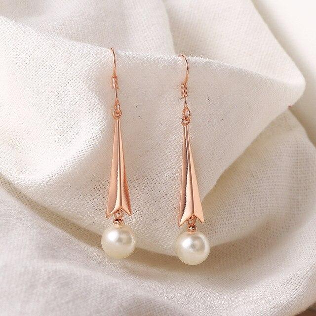 ZHOUYANG Imitation perles boucles doreilles pour les femmes esthétique mignon or Rose couleur Piercing boucle doreille mariage mariée gros bijoux E188