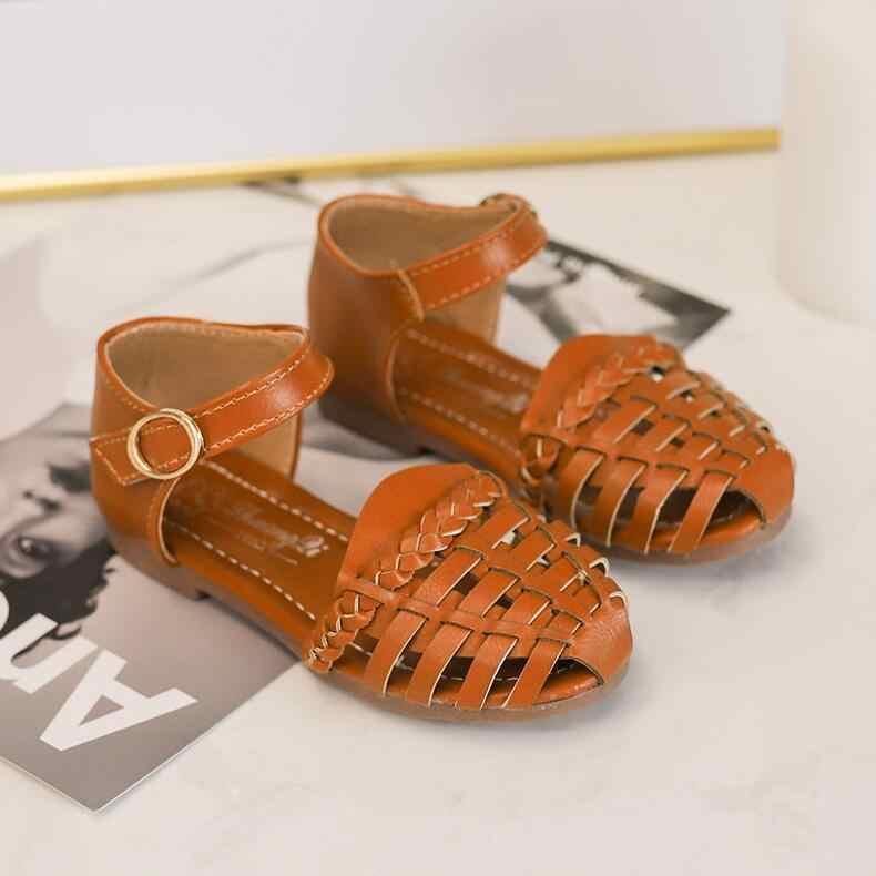 เด็กฤดูร้อนรองเท้าหนังโรมเด็กทารกเด็กวัยหัดเดินเด็กรองเท้ากลวงสาวรองเท้าชายหาดสีดำ Beige สีน้ำตาล