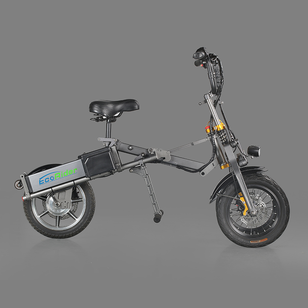 EcoRider E6-7 Cheaper Electric Bike 14 Inch City Road Folding Bicycle 250W 48V Chariot with Lithium Battery 1