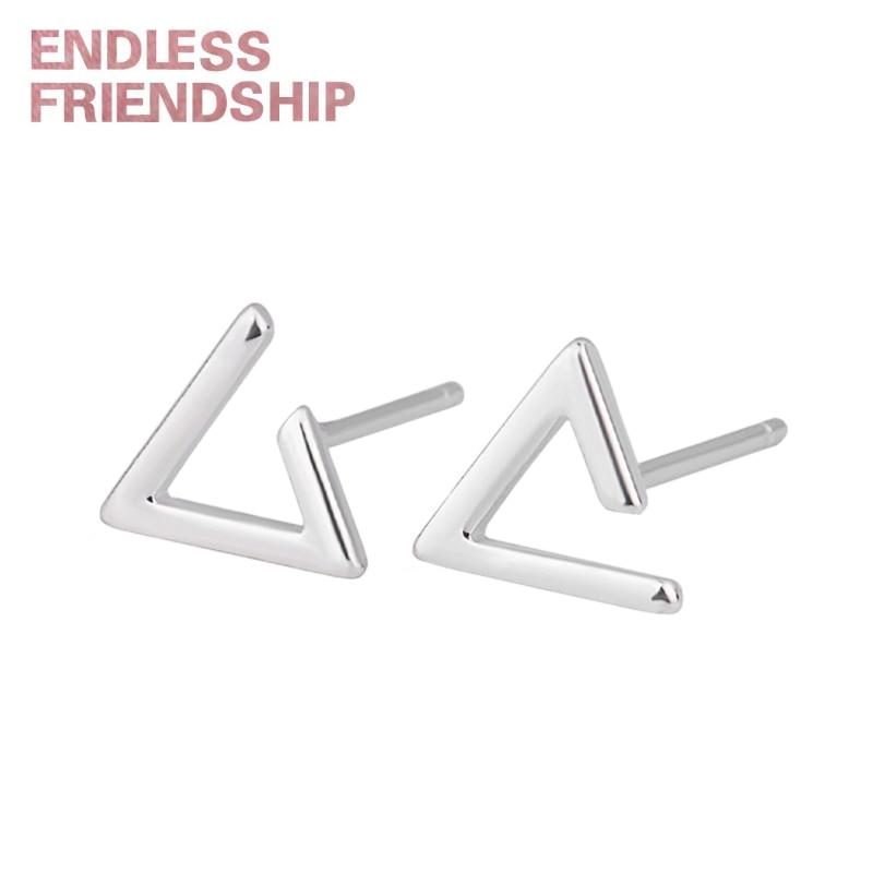 Endless Friendship Geometric Stud Earrings for Women Triangle Shape Silver Korean Fashion Jewelry Accessories Woman Gift