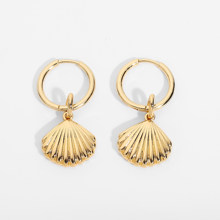 Gold Color Unique Shell Shape Design Huggies Earrings For Women Hoop Earrings Jewelry Accessories For Summer