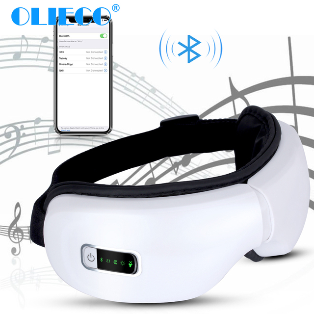 Electric Wireless Eye Massager Heating Therapy Air Pressure Eye SPA Bluetooth Music Eyes Stress Relief Device USB Recharge Fold