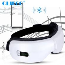 Masseur électrique sans fil pour les yeux, dispositif chauffant, anti Stress pour les yeux, Bluetooth, thérapie chauffante, pression de lair, musique, Recharge USB pliable
