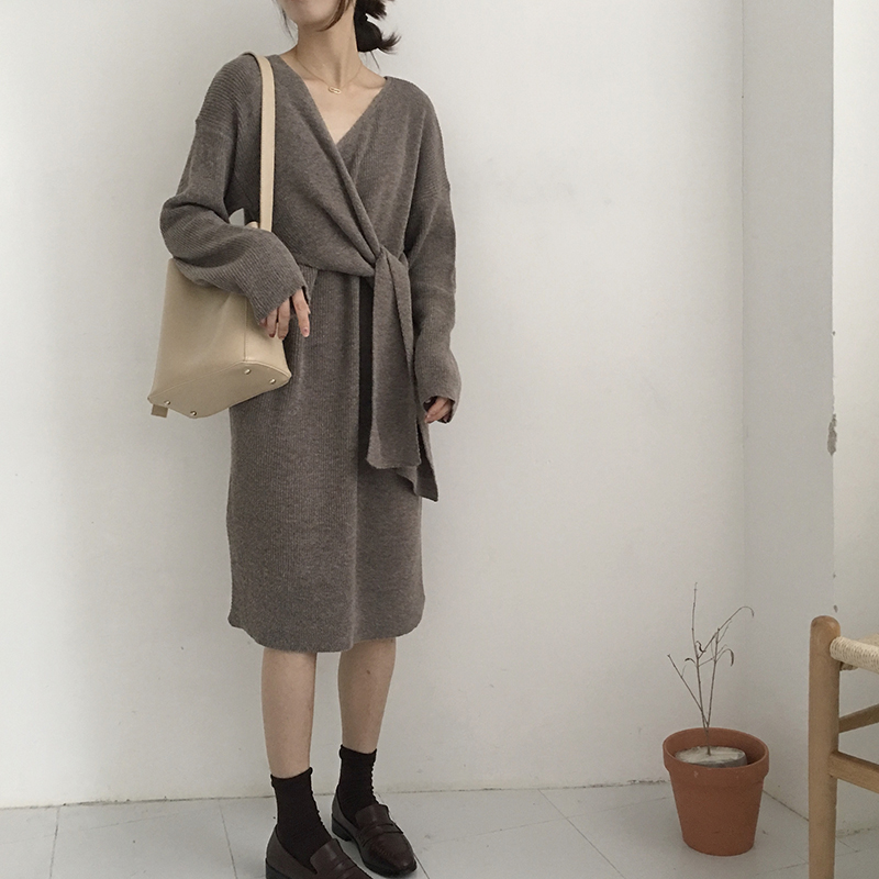 Hc50b003c53534bd8b8aa0c02e952f4465 - Winter Korean V-Neck Long Sleeves Knitted Dress