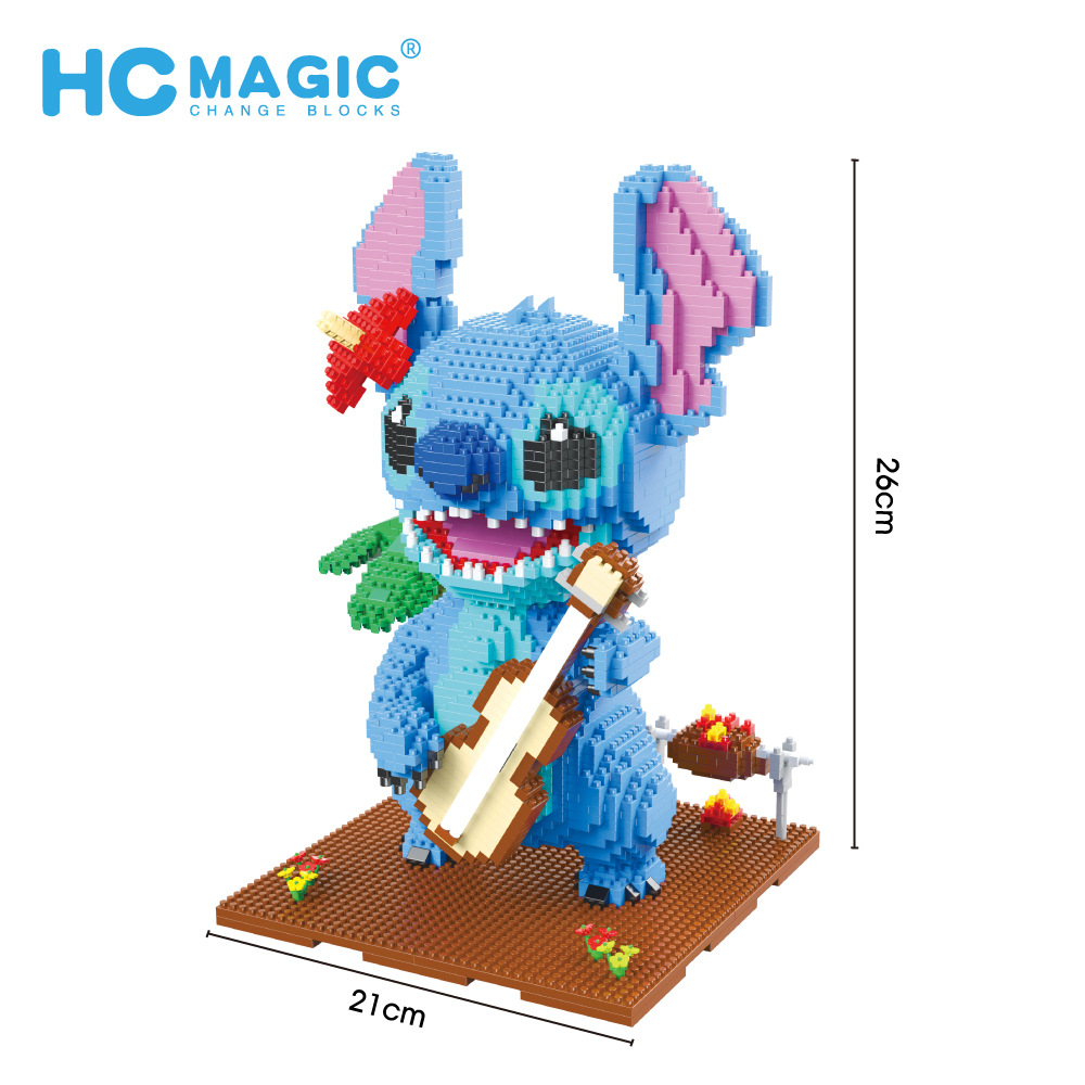 2882pcs+ HC1044 Guitar Stitch Diamond Building Block Mirco Lilo & Stitch Figure Cute 3D Model Children For Mini Bricks Toys