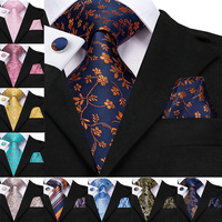 Hi-Tie New Classic 100% Silk Men's Tie Neck Ties Navy Floral Ties for Men Formal Business Luxury Wedding Party Neckties Gravatas