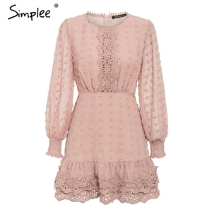 Image 5 - Simplee vestido de encaje de manga larga para otoño, elegante, bordado de lunares, Delgado