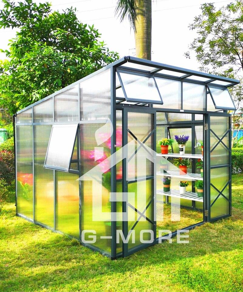 serre prefabriquee avec panneaux en polycarbonate de 10mm toit incline jardin tres resistant utilise a la vente