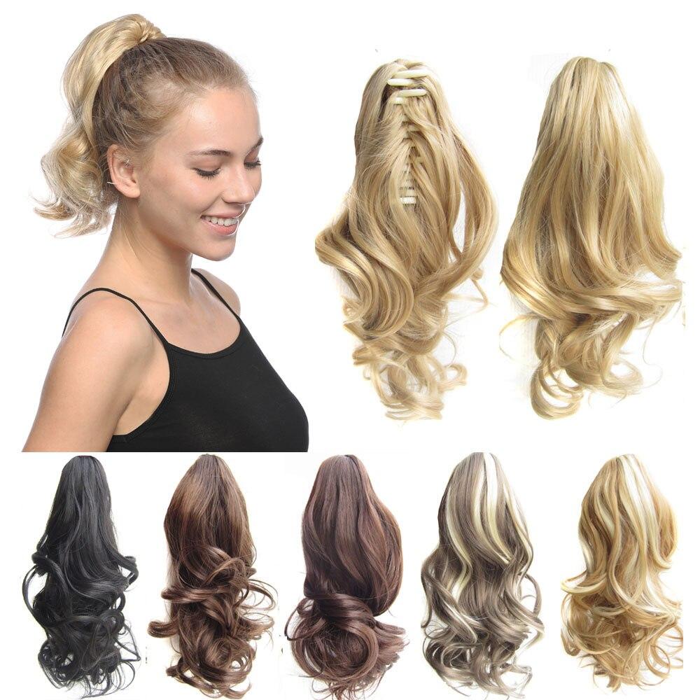 Jeedou короткие волнистые волосы для наращивания хвостиком, синтетические когти хвостиков 16