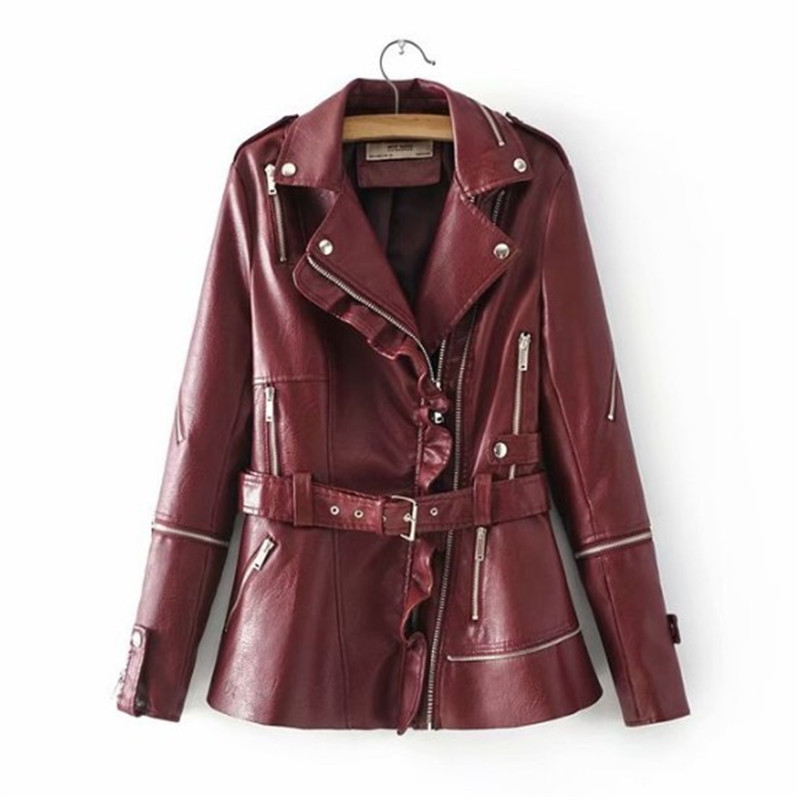 Ruffled Zippers Turn-down Collar PU   Leather   Jacket Women With Belt Europe and America Design Slim   Leather   Outerwear DS50902