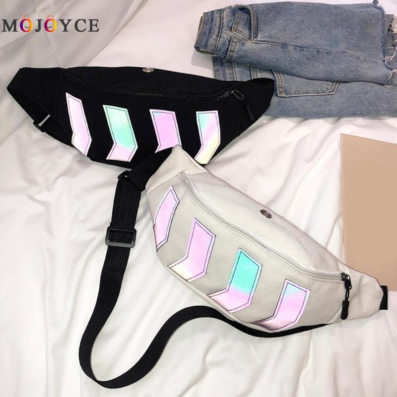 2019 Men Waist Bag Canvas Fanny Pack Boy Street Reflective Chest Bag Casual Travel Hip Hop Pack